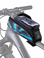 cheap -waterproof bike front frame bag with touch screen phone case sun visor top tube mount bag phone holder, blue 5.8""