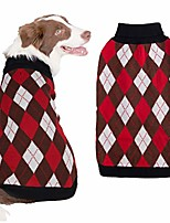 cheap -plaid dog sweater for medium dogs warm knitwear coat winter apparel blank & red