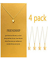 cheap -friendship compass butterfly necklace with message card elephant anchor pendant gift necklace 4pcs (star)