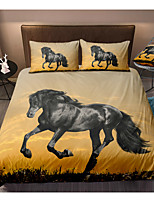 cheap -Black Horse 3-Piece Duvet Cover Set Hotel Bedding Sets Comforter Cover with Soft Lightweight Microfiber(Include 1 Duvet Cover and 1or 2 Pillowcases)
