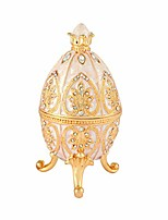 cheap -trinket box with hinged white faberge egg enameled jewelry box classic ornaments metal craft gift for home decor