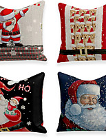 cheap -Christmas Party Cushion Cover 4PC Linen Soft Decorative Square Throw Pillow Cover Cushion Case Pillowcase for Sofa Bedroom 45 x 45 cm (18 x 18 Inch) Superior Quality Machine Washable