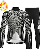cheap -21Grams Men's Long Sleeve Cycling Jersey with Tights Winter Fleece Polyester Dark Gray Bike Clothing Suit Thermal Warm Fleece Lining Breathable 3D Pad Warm Sports Graphic Mountain Bike MTB Road Bike