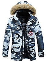 cheap -mens autumn winter cotton coat thick outdoor outwear hooded fur collar jackets (camouflage, m)