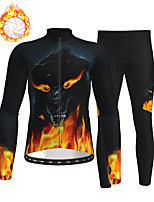 cheap -21Grams Men's Long Sleeve Cycling Jersey with Tights Winter Fleece Polyester Black / Orange Animal Bike Clothing Suit Fleece Lining Breathable 3D Pad Warm Quick Dry Sports Graphic Mountain Bike MTB