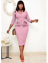 cheap -Plus Size Women's Sheath Dress Knee Length Dress 3/4 Length Sleeve Solid Color Patchwork Summer Shirt Collar Casual Cotton Blend Slim