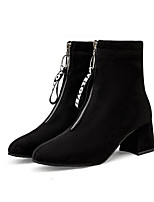 cheap -Women's Boots Chunky Heel Round Toe Booties Ankle Boots Daily Walking Shoes Nubuck Solid Colored Black Red / Mid-Calf Boots
