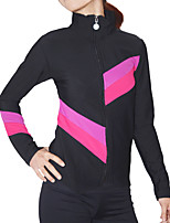 cheap -Figure Skating Jacket with Pants Women's Girls' Ice Skating Pants / Trousers Top Pink Patchwork Spandex High Elasticity Training Competition Skating Wear Patchwork Long Sleeve Ice Skating Figure