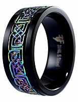 cheap -black rainbow celtic spinner ring womens mens stainless steel wedding band size 5-15 (5)