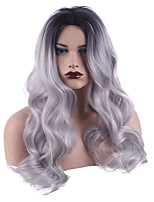 cheap -Synthetic Wig Body Wave Bouncy Curl Middle Part Wig Long Silver grey Synthetic Hair Women's Soft Ombre Hair Fluffy Dark Gray