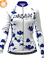 cheap -21Grams Women's Long Sleeve Cycling Jersey Winter Fleece Polyester Red Blue Green Floral Botanical Christmas Bike Jersey Top Mountain Bike MTB Road Bike Cycling Fleece Lining Warm Quick Dry Sports