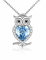 cheap -owl gifts 925 sterling silver cute animal owl pendant necklace with blue topaz crystal jewelry-gifts for women teen girls birthday-gifts for owl lovers - march birthstone