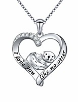 cheap -925 sterling silver animal jewelry engraved i love you like no otter sea otter heart pendant necklace for women (06_i love you like no otter)