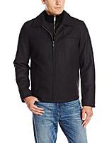 cheap -men's melton wool open bottom jacket with bib, gray, small