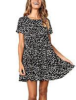 cheap -women's chiffon summer sleeveless polka dot ruffle hem swing dress with pockets black