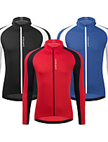 cheap -WOSAWE Men's Long Sleeve Cycling Jersey Black Sky Blue Rose Red Patchwork Bike Jacket Top Breathable Quick Dry Reflective Strips Sports Clothing Apparel / Athleisure / Sweat-wicking