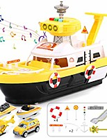 cheap -electric rescue fire boat toy with sound flash light swimming pool bath toy, 100% recyclable ferry floating boat with 6 cars for toddlers age 2+,yellow