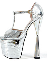 cheap -Women's Sandals Chunky Heel Peep Toe Classic Daily PU Solid Colored Gold Silver