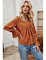 cheap -Women's Blouse Shirt Plain Long Sleeve Pleated V Neck Tops Basic Basic Top Orange