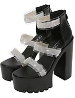 cheap -Women's Sandals Chunky Heel Peep Toe Classic Daily PVC Rhinestone Solid Colored White Black