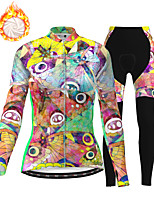 cheap -21Grams Women's Long Sleeve Cycling Jersey with Tights Winter Fleece Polyester Green / Yellow Bike Clothing Suit Thermal Warm Fleece Lining Breathable 3D Pad Warm Sports Printed Mountain Bike MTB
