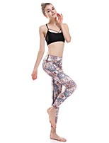 cheap -Women's Casual Yoga Comfort Daily Gym Leggings Pants Multi Color Graphic Ankle-Length Patchwork Print Beige