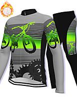 cheap -21Grams Men's Long Sleeve Cycling Jacket with Pants Winter Fleece Spandex Grey Gear Bike Fleece Lining Warm Sports Graphic Mountain Bike MTB Road Bike Cycling Clothing Apparel / Stretchy / Athleisure