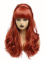 cheap -long curly wavy full head halloween copper red wigs for women cosplay costume party wig with fringe for 70s