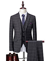 cheap -Tuxedos Tailored Fit Notch Single Breasted Two-buttons Polyster / Polyester Plaid / Check