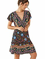 cheap -women boho ruffle mini dress v neck floral print short sleeve a-line wrap casual party beach dress dark blue