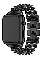 "cheap -n'less dreamz luxury premium stainless steel metlink replacement wrist strap watch band comal double cowboy chain bracelet compatible for apple watch series 5 4 3 2 1 (black 38"") (black, 38"")"