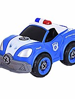 cheap -diy police car toys with electric drill converts to remote control police car realistic truck sirens 2 in 1 gift toys for boys girls over 3 years old (blue white)