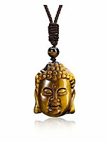 cheap -jovivi healing crystal necklace natural tiger eye stone woman head charm amulet bead pendant necklace gemstone jewelry adjustable rope