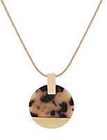 cheap -acrylic disc pendant necklace – long statement necklace for women with gold snake chain christmas/holiday jewelry gift (leopard)