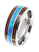 cheap -tungsten carbide hawaiian koa wood with synthetic blue opal inlay 8mm comfort fit ring/wedding band (9)