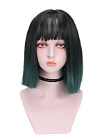 cheap -Synthetic Wig Straight With Bangs Wig Short Green Purple Synthetic Hair 10 inch Women's Cool Color Gradient Green Purple