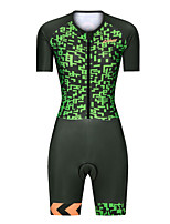 cheap -Men's Women's Short Sleeve Triathlon Tri Suit Polyester Green Bike Clothing Suit Breathable 3D Pad Quick Dry Reflective Strips Sweat-wicking Sports Graphic Mountain Bike MTB Road Bike Cycling