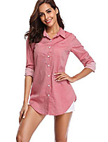 cheap -women's chambray button down shirt, long sleeve cotton blouse, long jeans tunic top light red 2x-large