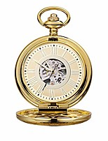 cheap -pocket watch unisex large clamshell mechanical pocket watch roman carved hollow classic machinery gold retro pocket watch with chain