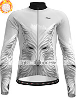 cheap -21Grams Men's Long Sleeve Cycling Jacket Winter Fleece Polyester Grey Wolf Bike Jacket Top Mountain Bike MTB Road Bike Cycling Thermal Warm Fleece Lining Breathable Sports Clothing Apparel / Stretchy