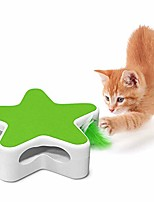 cheap -interactive cat toy with rotating feather teaser, pentagram box automatic cat feather toys for training hunting exercise