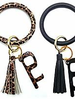 cheap -2pcs wristlet keychain bracelet leather keyring bangle tassel big round key chain for women girls (2 keychain + 2 clean key)