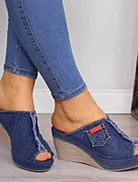 cheap -Women's Sandals Wedge Heel Peep Toe Classic Daily Denim Solid Colored Black Blue