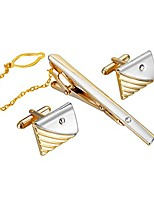 cheap -men's crystal metal cufflink and tie clip set,gold silver