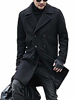 cheap -men's wool blend coat invisible single-breasted coat with stand collar long coat size m-xxl (black,medium)