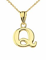 cheap -fine personalized initial q charm pendant necklace in solid 10k yellow gold, 16""