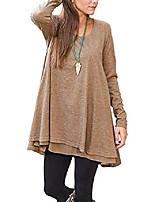 cheap -women's chiffon hem long sleeve layered blouse casual loose tunic tops (m, brown)