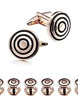 cheap -graceful rose gold round circle man tuxedo shirt studs and cufflinks set