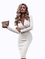 cheap -Women's Shift Dress Knee Length Dress - Long Sleeve Solid Color Spring Fall V Neck Elegant Vintage Party 2020 White Black Red Wine Green Beige S M L XL XXL