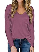 cheap -women's long sleeve v-neck shirts tunic blouse loose casual tee t-shirt